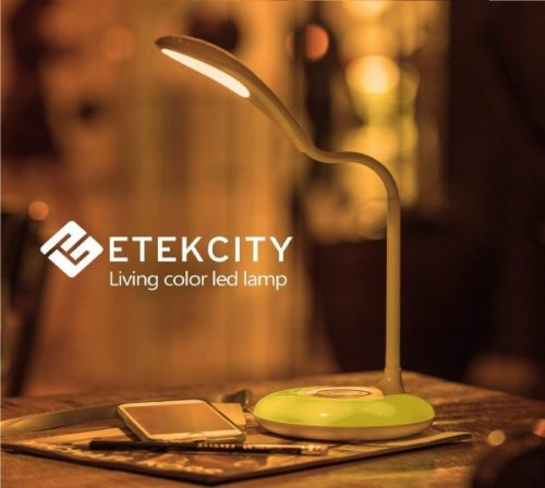 4.Etekcity LED Desk Lamp with USB Charging Port, Eye-caring Table Lamp with 3 Brightness Levels, Touch Control, Adjustable Gooseneck, Color Night Light for