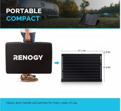 4.Renogy 100 Watt 12 Volt Monocrystalline Off Grid Portable Foldable 2Pcs 50W Solar Panel Suitcase Built-in Kickstand with Waterproof 20A Charger Controller