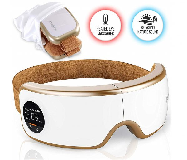 4.Stress Therapy Electric Eye Massager - Wireless Digital Mask Machine w Heat Compress, Built-in Battery & Adjustable Elastic Band - Air Pressure Vibration