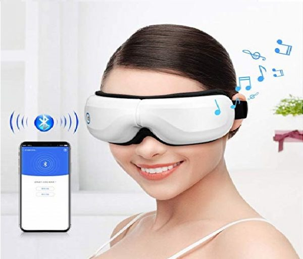 5.Bromose Wireless Foldable Rechargeable Eye Massager,Intelligent Mode One-Click Operation Eye Massager,Wireless Bluetooth Music Therapy Stress Relief for Eye Care Best Gift