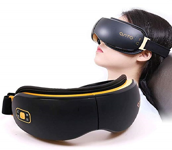 6.Electric Eye Massager Rechargeable Temple Massage Therapy Machine for Reduce Dark Circles Headaches Dry Eyes,Muice Heat Air Compress for Eye Relaxation Improve Sleeping