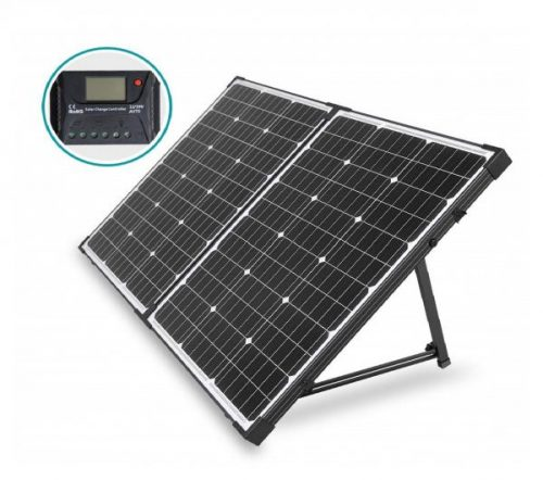 6.HQST 100 Watt 12 Volt Off Grid Monocrystalline Portable Folding Solar Panel Suitcase with Charge Controller