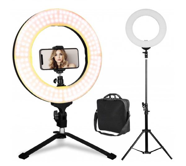7.LED Ring Light - 14 inch Bicolor Dimmable Halo Vlogging Socialite Lighting Kit with 70 Stand & Table Top Stand, Superbright, Durable, Adjustable Angle
