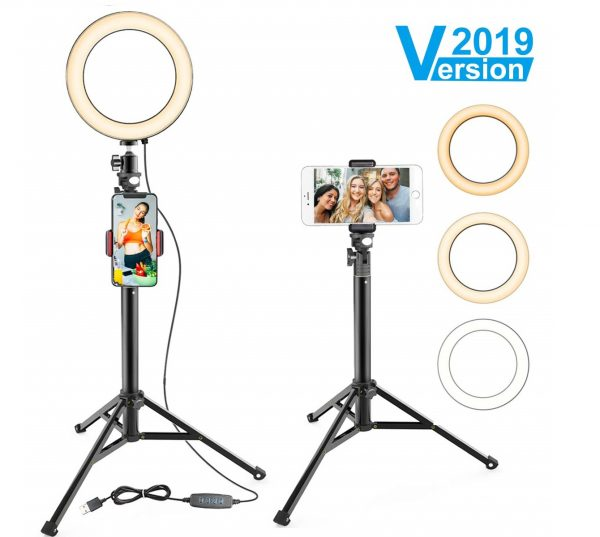 8.8 Ring Light with Stand & Cell Phone Holder for YouTube Video and Makeup, Selfie Light Ring for Live Stream Photography, Compatible with iPhone Android