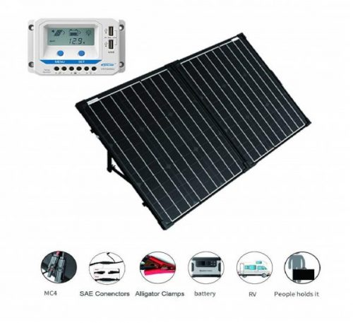 8.ACOPOWER 12V Portable 100 Watts Solar Panel Kit Suitcase with LCD Charge Controller (100W w LCD Controller)