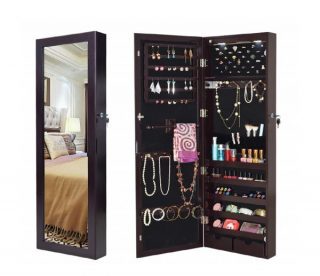 8.Giantex Wall Door Mounted Jewelry Armoire Organizer with 2 LED Lights, Lockable Height Adjustable Jewelry Cabinet with Full Length Mirror, Large Capacity