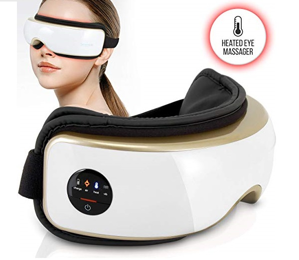 8.Heated Therapy Electric Eye Massager - Wireless Temple and Eye Massager Tool with Air Pressure and Vibration for Migraine, Built-in Battery, Headache and Stress Relief Equ
