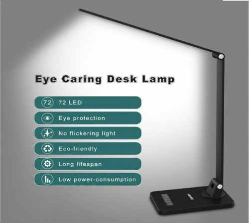 9.MEIKEE LED Desk Lamp,Aluminum Dimmable Table Lamp,5 Lighting Models with 8 Brightness Levels,Touch Control and Memory Function,30min 60min Auto Timer,5V 1A