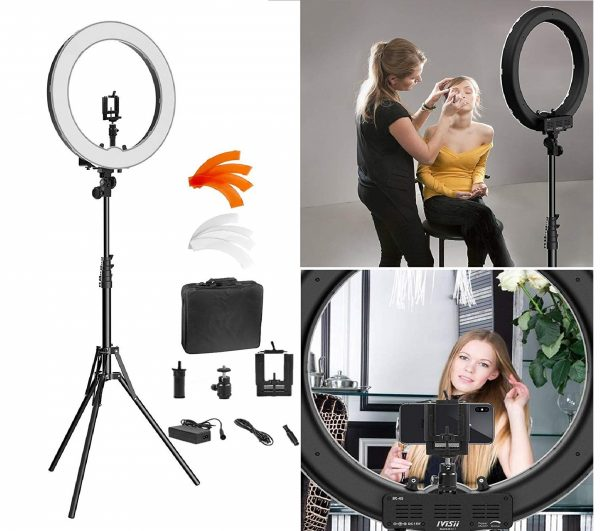 9.Ring Light Kit18 48cm Outer 55W 5500K Dimmable LED Ring Light, Light Stand, Carrying Bag for Camera,Smartphone,YouTube,Self-Portrait Shooting