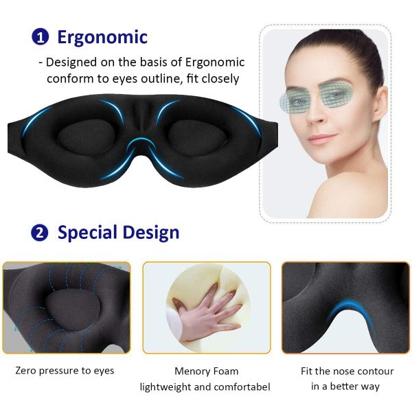1.Sleep Eye Mask for Men Women, 3D Contoured Cup Sleeping Mask & Blindfold with Ear Plug Travel Pouch, Concave Molded Night Sleep Mask, Block Out Light, Soft Comfort Eye Shade Cover for Yoga Meditation