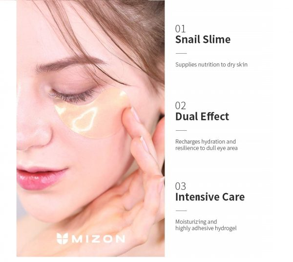 11.Mizon Under Eye Patches 24K Gold Snail Eye Treatment Mask Reduces