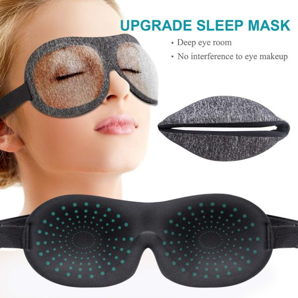11.Sleep Mask, 3D Contoured Sleep Eye Mask, Comfortable & Super Soft Sleeping Mask with Adjustable Straps for Women, Men, Luxury Pattern Eye Mask for Sleeping with Ear Plugs Carry Pouch for Travel Naps