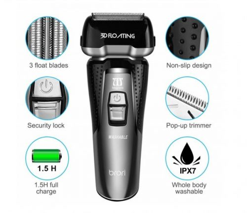 12.INSMART Electric Shaver for men, Waterproof Wet Dry USB Quick Rechargeable Cordless Electric Razor with Led Display, Travel Lock & Pop Up Trimmer-Black