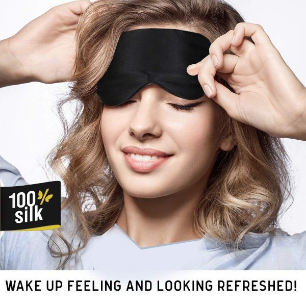 3.Jersey Slumber 100% Silk Sleep Mask For A Full Night's Sleep Comfortable & Super Soft Eye Mask With Adjustable Strap Works With Every Nap Position Ultimate Sleeping Aid Blindfold, Blocks Light