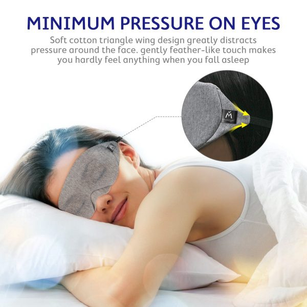 5.Mavogel Cotton Sleep Eye Mask - Updated Design Light Blocking Sleep Mask, Soft and Comfortable Night Eye Mask for Men Women, Eye Blinder for Travel Sleeping Shift Work, Includes Travel Pouch, Grey