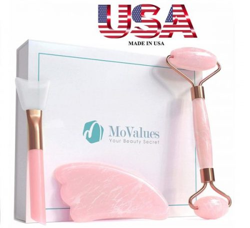 5.Original Jade Roller for Face and Gua Sha Set - Rose Quartz Roller - Face Roller, Real 100% Jade - Face Massager for Wrinkles, Anti Aging - Authentic, Durable, Natural, No Squeak