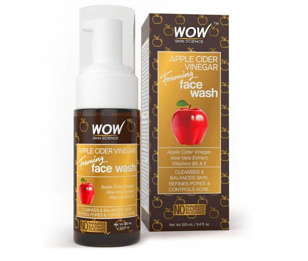 7.WOW Apple Cider Vinegar Foaming Face Wash Cleanser - Normal, Dry & Oily Skin - Heal, Hydrate For Soft, Clear Skin - Remove Dirt, Oil & Makeup, Reduce Acne Breakouts - Men & Women - All