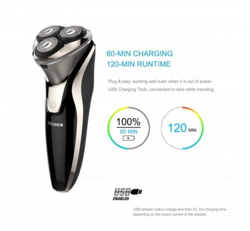8.Phisco Electric Shaver Razor for Men 2 in 1 Beard Trimmer Wet Dry Waterproof Mens Rotary Shaver USB Quick Rechargeable Shaving Razor - Best Gift for Dad, Boyfriend …