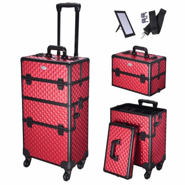 1. Koval Rolling Aluminum Makeup Cosmetic Train Case 2in1 4Wheel Red (Red)