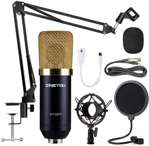 10. ZINGYOU Condenser Microphone Bundle, ZY-007 Professional Cardioid Studio Condenser Mic Include Adjustable Suspension Scissor Arm Stand