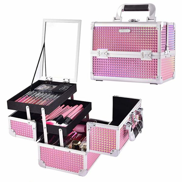 2. Joligrace Makeup Train Case Portable Cosmetic Box Jewelry Organizer Lockable with Keys and Mirror