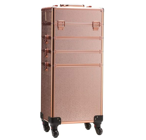 3. Rolling Train Case 5-in-1 Portable Makeup Train Case Professional