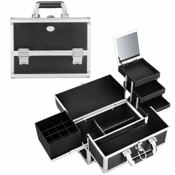 4. Joligrace Makeup Train Case Organizer Box Professional Multi-Purpose Cosmetic Storage