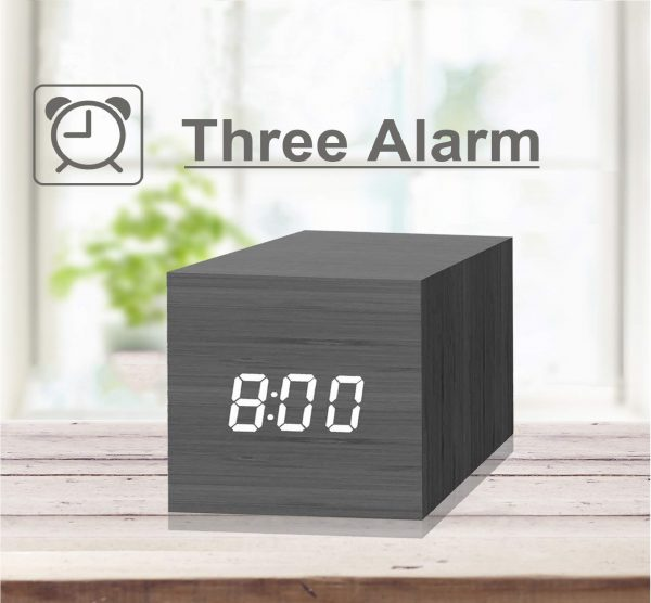 5.Digital Alarm Clock, with Wooden Electronic LED