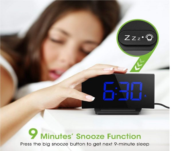 7.Mpow Digital Alarm Clock, 5'' Curved LED Screen