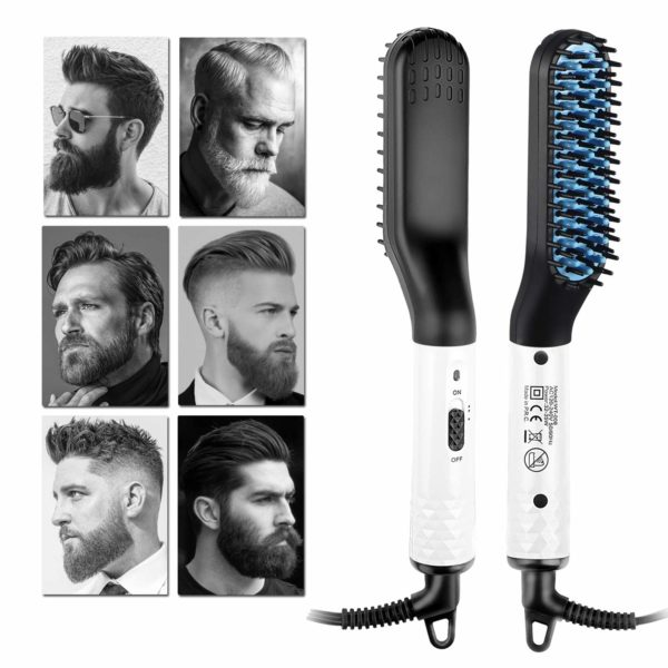 10.Beard Straightener Electric Hot Comb for Men, Beard Straightening Comb, Mens Hair Beard Iron Straightener