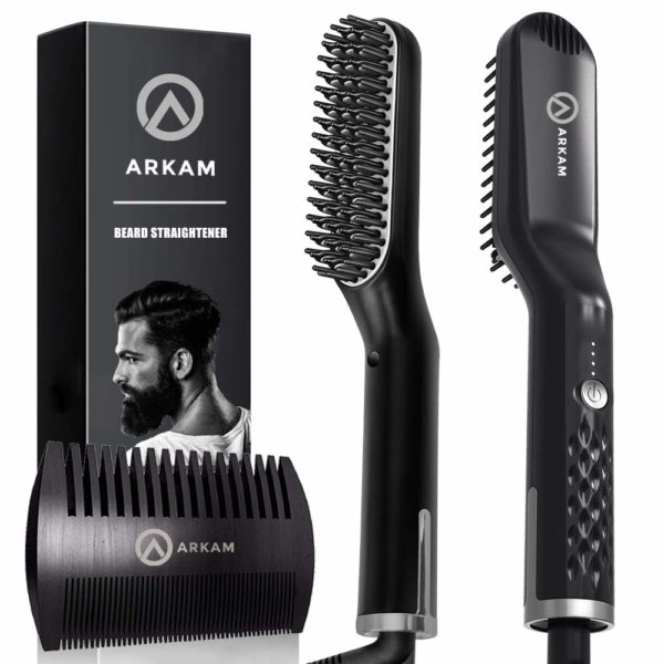 11.Arkam Premium Beard Straightener for Men - Cutting Edge Ionic Beard Straightening Comb