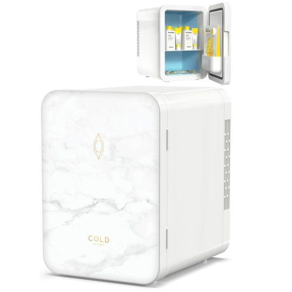11.COLD Skincare Fridge (8.8 x 7 x 9.6 Inches) - 4 Litre Beauty Fridge in Marble Design for Cosmetics and Skincare