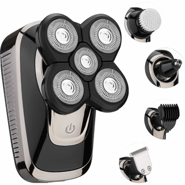 15.Electric Razor for Men, Rotate Shaver Grooming Kit by Hieha Electric Beard Trimmer, Hair Clipper 5 Headed Shaver Light Weight for a Perfect Bald
