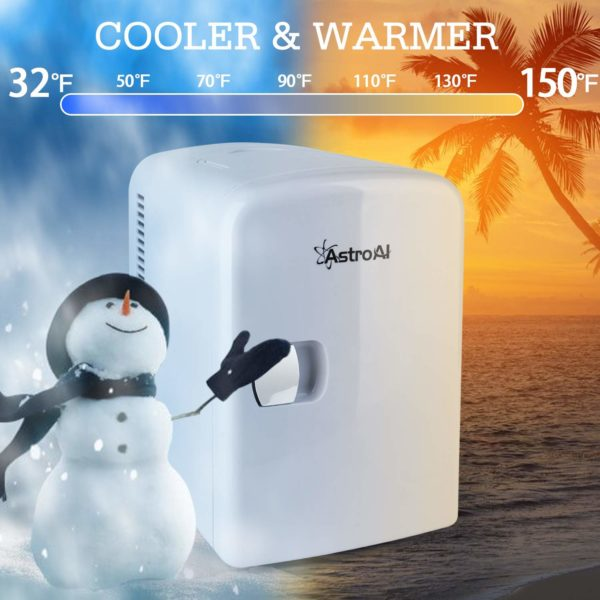 2.AstroAI Mini Fridge 4 Liter 6 Can AC DC Portable Thermoelectric Cooler and Warmer for Skincare