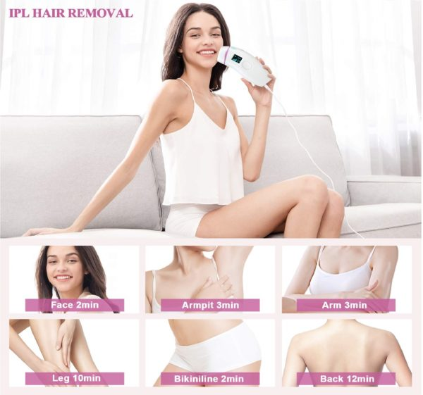 3.Hair Removal for Women, IPL Permanent Hair Remover System Device for Female Male Face Leg Body Home