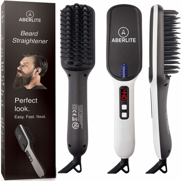 5.Aberlite MAX - Beard Straightener for Men - Beard Straightening Heat Brush Comb Ionic
