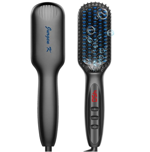 6.Beard Straightener for Men, Ceramic & Ionic Beard Brush for Men with Fast Heating and Anti-Scald