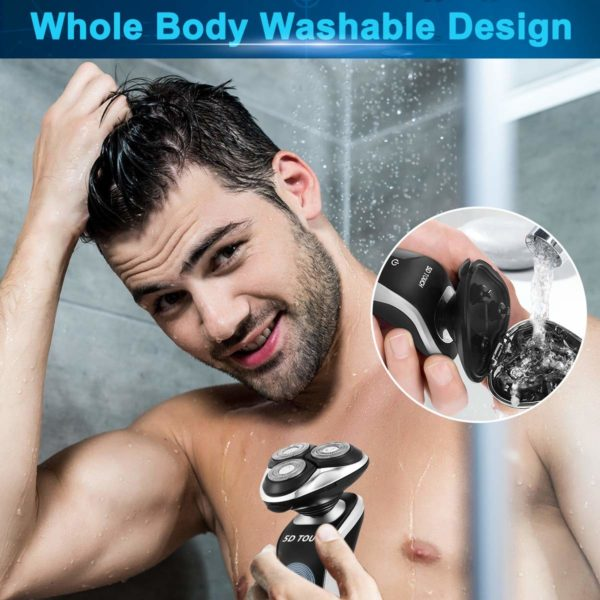 6.Electric Razor Shaver for Men, 4 in 1 Dry Wet Waterproof men's Rotary Shaver Portable Face Shaver Travel Rechargeable Beard