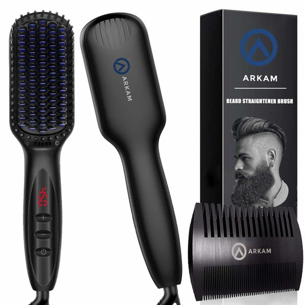 7.Arkam Beard Straightener for Men, Ionic Beard Straightening Comb with Anti-Scald Feature, Heated Hair Straightener