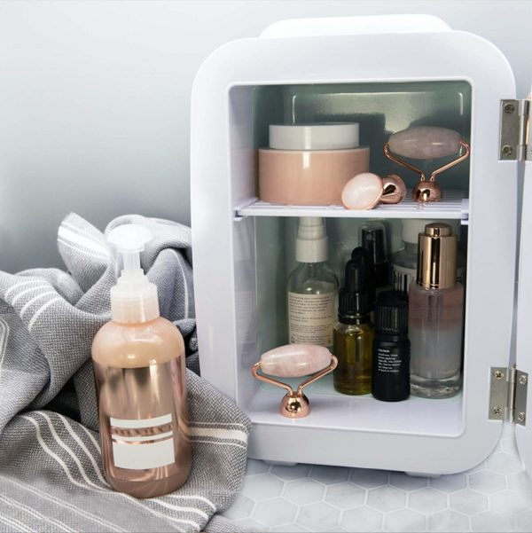 8.Finishing Touch Flawless Beauty Mini Fridge for Makeup and Skincare with heat and cool settings, White, 4 Liter