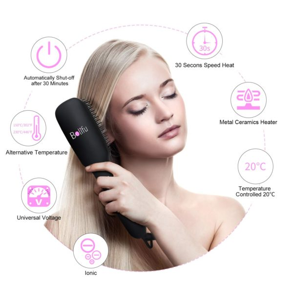 8.Ionic Hair Straightener Brush Dual Voltage with Silicone Mat Pouch for Safe Storage, Straightening Comb Protect Sensitive Scalp