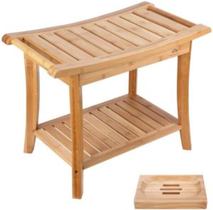 Bamboo Shower Bench Stool Seat with Shelves