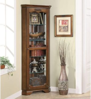 5-shelf Corner Curio Cabinet with Acanthus Leaf Top