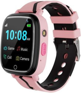 pink and black smartwatch for kid