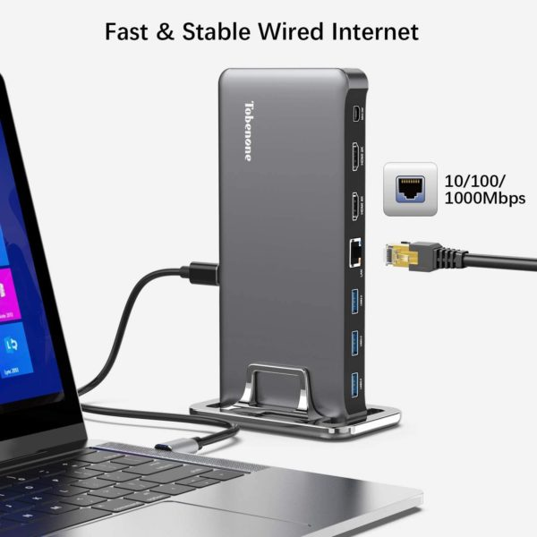 8. USB C Docking Station, Dual Monitor Dock Compatible with Thunderbolt 3 and USB Type C