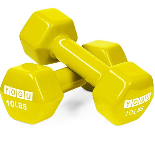 10.YOGU Neoprene or Vinyl Dumbbells Anti-Roll Hexagonal Dumb Bell Weights Compact and Color