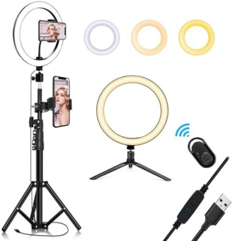 12 inch Selfie Ring Light with Tripod Stand /& Cell Phone Holder for Live Stream//Makeup QI-EU Dimmable Led Camera Ringlight for YouTube TikTok//Photography Compatible for iPhone and Android Phone