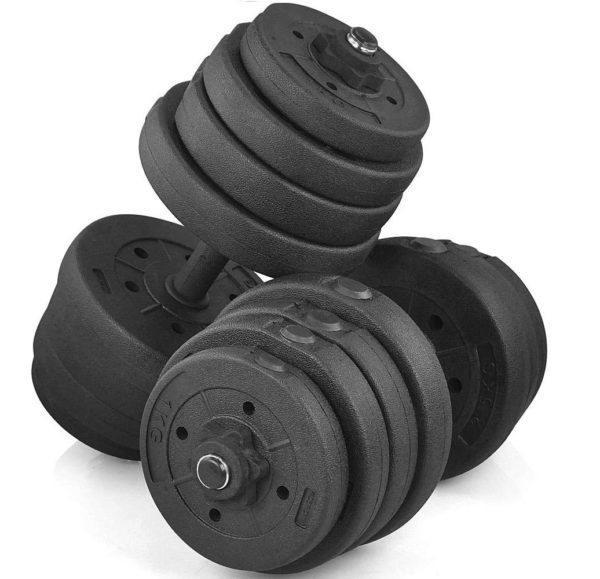 11.Yaheetech 66 LB Weight Dumbbell Set Fitness Adjustable Cap Gym
