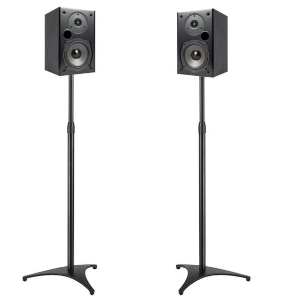 12. PERLESMITH Speaker Stands Extend 30-45 Inch with Upgraded Cable Management