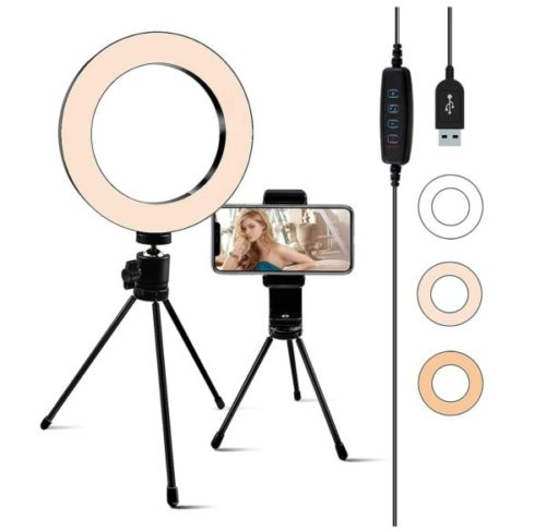 13.​​ GYTF Selfie LED Light Ring with Stand and Dimmable Desk